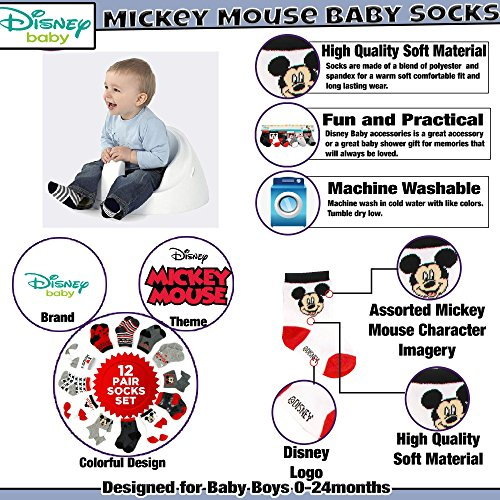 Disney Baby Boys' Toddler Mickey & Minnie Mouse Assorted Color Pair Socks Set, Grey, Black, White Collection, 0-6 Months