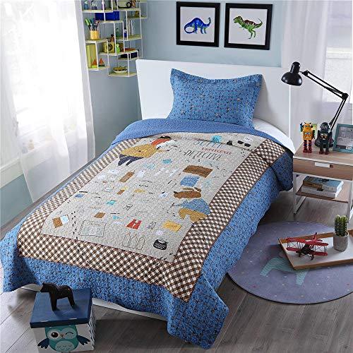 Kinder steppen Quilt Tagesdecke 180x250cm Karikatur-Superdetektiv Junge Tröster Bettwäsche, Teens Kinder Quilt Coverlet mit 1 Pillowcase 50x70cm
