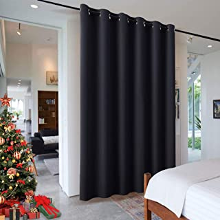 RYB HOME Partition Wall Panel, Room Darkening Drape Furniture Protected Blackout Room Divider Curtain for Patio Sliding Door/Locker Room/Cofe Bar/Dinning, 10 ft Wide x 9 ft Tall, Black, 1 Pcs