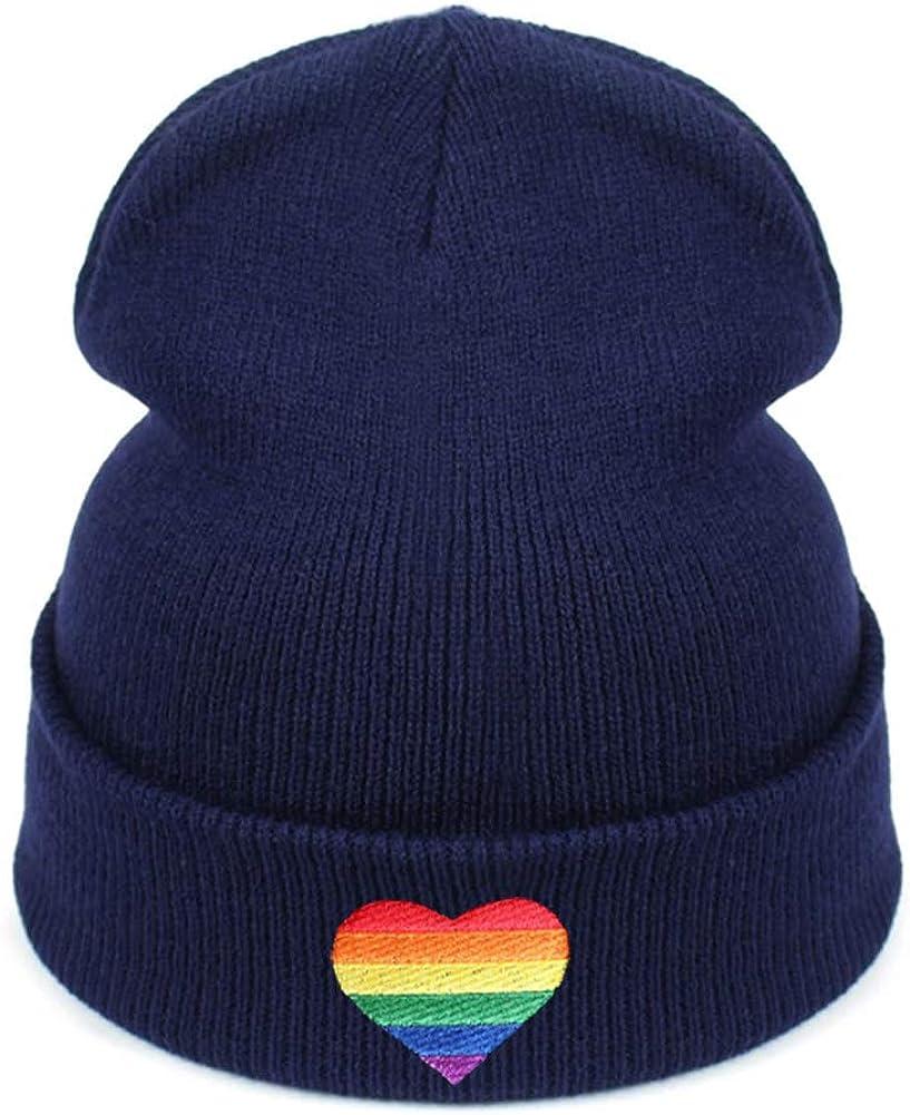 Rainbow Love online shopping Superlatite Heart Embroidery Beanies Warm H Winter Knitted Hats