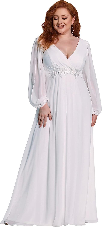 Ever-Pretty Women's Maxi V Neck Long Slit Sleeves Floral Applique Formal Evening Dress Plus Size 0461-PZ