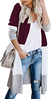 AUSELILY Womens Long Cardigan Sweaters Long Sleeve Lightweight Color Block Knit Open Front Sweaters Coat