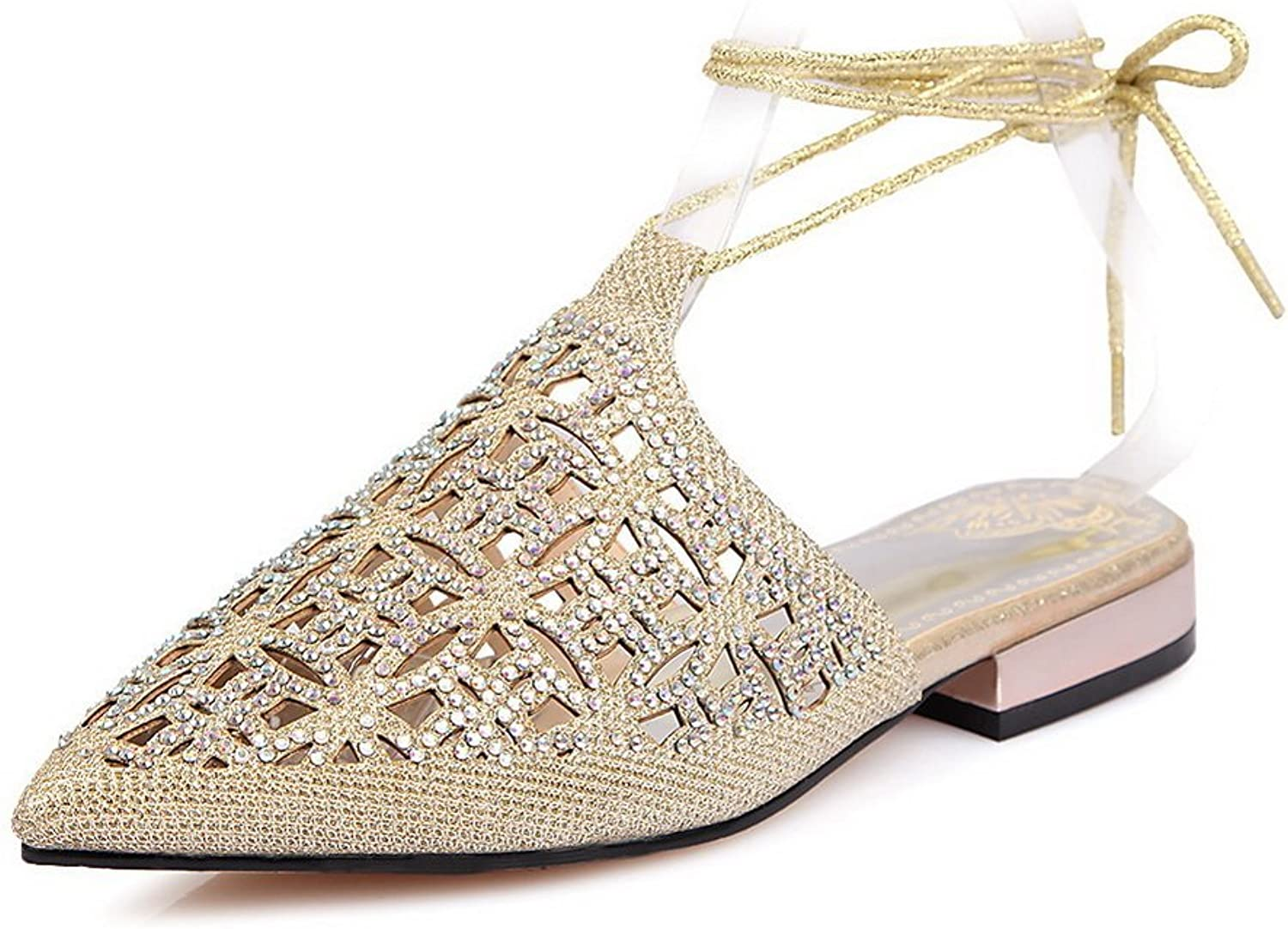BalaMasa Girls Hollow Out Pointed-Toe gold Mesh Sandals