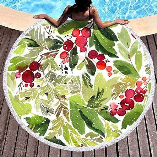 Gamoii Runder Strandtücher Badetuch Grüne Pflanze Rote Stechpalme Beere Picknickdecken Strandmatte Mikrofaser Handtücher Sand Beweis Strandlaken mit Fransen für Erwachsene Kinder Reisen White 150cm