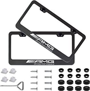 Fubai Auto Parts 2pcs AMG Stainless Steel License for Mercedes-Benz Plate Frame with Screw Caps Cover Set, Matte Black