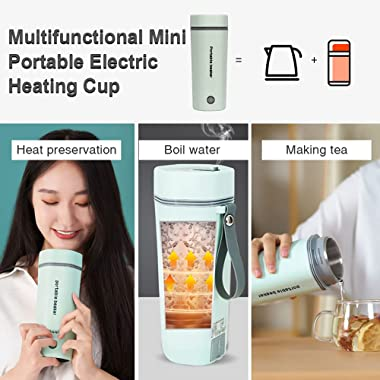 Travel Electric Cup, 450mL Portable Mini Heating Kettle, 3 in 1 Mini Thermos 304 Stainless Steel Inner Liner, 110V 300W Fast