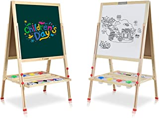 All-in-One Wooden Children Kid's Art Easel with Paper Roll Double Sided Whiteboard Chalkboard Magnetic Accessories (Larger Size)