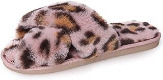 KADIS Womens Fuzzy Slippers Leopard Fluffy Cross Band Faux Fur Flat Slide Sandals Soft Warm House Slippers