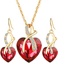 Perman Womens Jewelry Set, Fashion Crystal Heart Necklace and 1 Pair Earrings for Wedding, cheap stuff (Red)