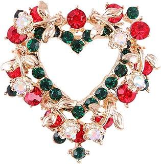 FENICAL Encantador en Forma de corazón Broche de Corona de Navidad Rhinestone de Color Cristal de Navidad Broche Pin Breas...