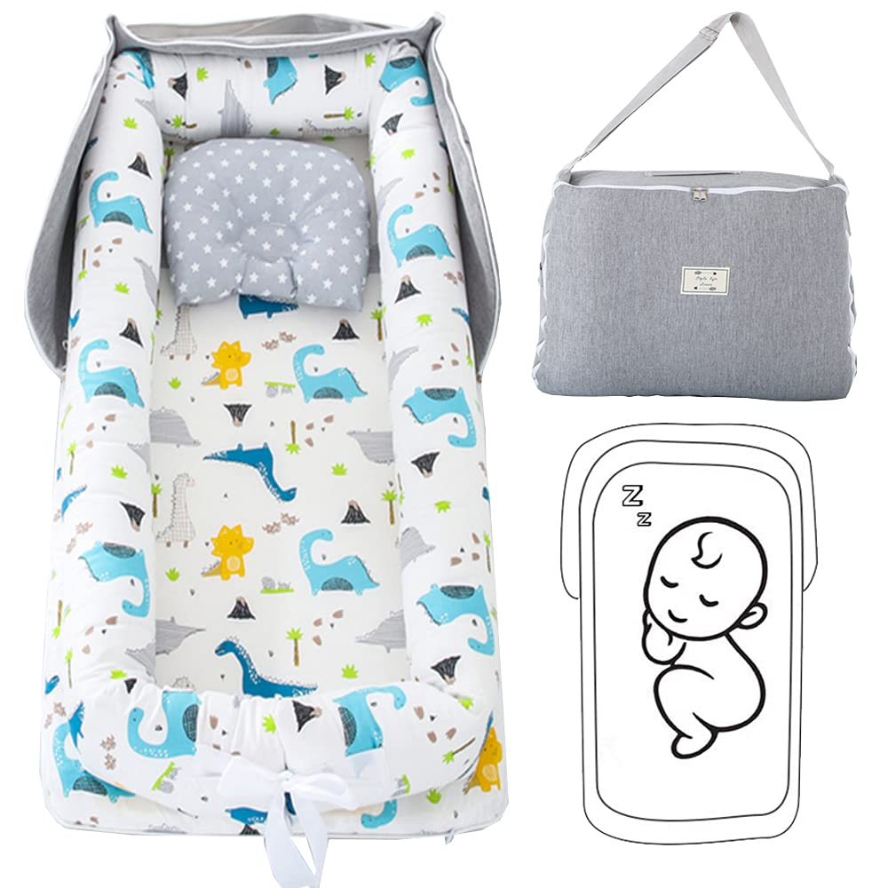 Abreeze Baby Bassinet for Bed Bedside Baby Nest Sleeper Dinosaur Baby Lounger Co-Sleeping Baby Bed 100% Cotton Portable Crib for Bedroom/Travel 0-24 Months