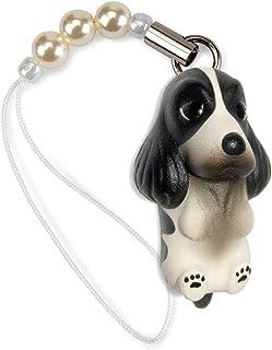 ペットラバーズ 犬種 Dog 92 English Cocker Spaniel イングリッシュコッカースパニエル ブラックホワイト ビーズ ストラップ DN-2103