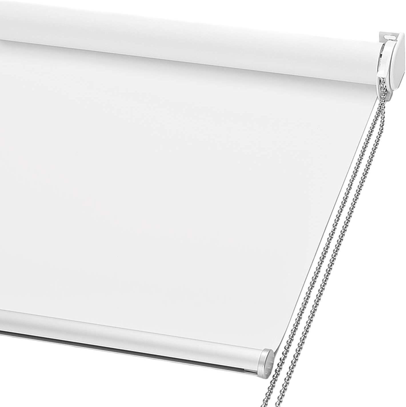 ChrisDowa 100% Blackout Roller Shade, Window Blind with Thermal Insulated, UV Protection Fabric. Total Blackout Roller Blind for Office and Home. Easy to Install. White,58