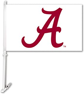 NCAA Alabama Crimson Tide Car Flag A Red with Team Color Background with Free Wall Bracket
