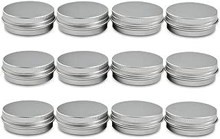 Houseables Aluminum Tin Jars, 1 Oz, 30 ML Gram Jar, 12 pcs, Cosmetic Sample Metal Tins Empty Container, Round Pot Screw Cap Lid, Small Ounce for Lip Balm, Salve, Make Up, Eye Shadow, Powder, Gems