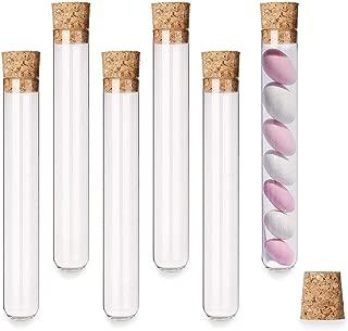 KINDPMA 20Pcs Tubos de Ensayo Plástico 18ML Tubo Ensayo Transparentes con Tapones de Corcho para Boda Bautismo Nacimiento Bricolaje Caramelos 18 x 105 MM