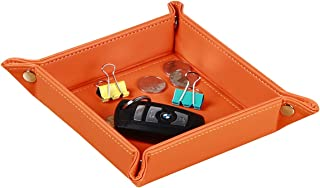 YAPISHI Valet Tray Leather Catchall Jewelry Tray Dice Box Bedside Tray Key Phone Coin Change Watches and Candy Holder Sundries Entryway Tray