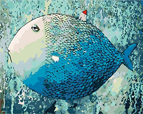 HQHff Big fat blue fish with house,Wooden jigsaw puzzles for adults 3D educational Toys DIY home decoration-500 Pieces;52x38cm