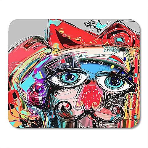 Muis Kleurrijke Abstract Digitale Kunstwerk Schilderen Portret Van Kat Snor Met Vogel Op Hoofd Doodle Rode Artiest Gedrukt Mousepad Mousepad Muis Mat School Kleurrijke 25 X 30Cm Gam
