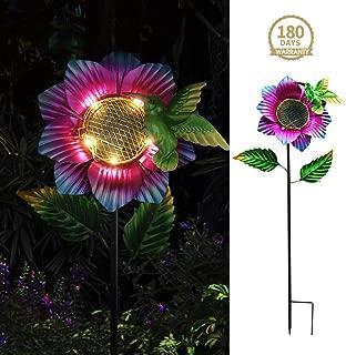 Petrala Garden Solar Lights Outdoor Decorative Metal Stake Flower Hummingbird Yard Patio Lawn Decoration