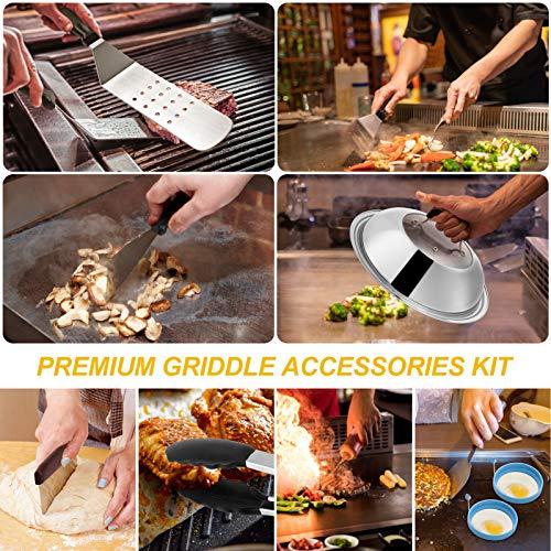 61AdzEx RcL. SL500  - Grillzubehör-Set, kompatibel mit Blackstone und Camp Chef, flache Oberseite, Grillschaber mit Schmelzkuppel für Kochen im Freien, Teppanyaki, Hibachi, BBQ (Holzgriff)