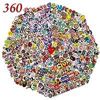 👑[Beau look]: Cet ensemble (360 pcs) est amusant, bande dessinée cool et autocollants mignons, décalcomanie comprenant super héros, personnages de bandes dessinées, galaxie, étoiles, logos de marque, éléments Pop, Graffiti ... Taille: Chaque autocoll...
