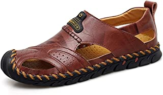Sumuzhe Stylish and comfortable Men's Fashion Sandal Casual Anti-collision Round Toe Hand Sewing Flexible Outdoor  Water Shoes Summer must (Color : Brown, Size : 48 EU)