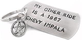 Supernatural Inspired 手印钥匙链 - My Other Ride is a 1967 雪佛兰 Impala - 带五芒星吊坠