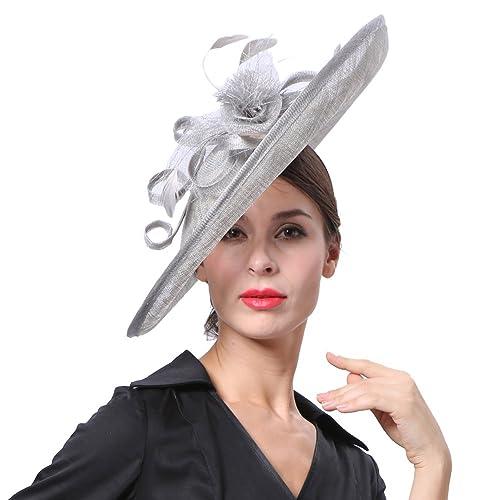 Koola s hats Wide Brim Sinamay Hatinator Weeding Party Wear Facsinators  Silver 91bebe432bf
