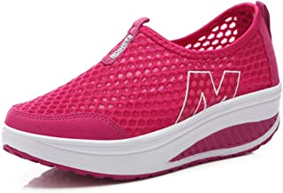 Hishoes Womens Sneakers Platform Wedges Sports Shoes Breathable Mesh Fitness Toning Rocker Shoes Walking Trainers