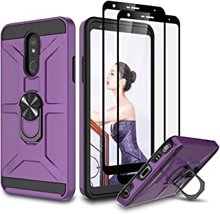 LG Stylo 5 Case, with HD Tempered Glass Screen Protector, Hybrid [Military Grade] Magnetic Car Ring Holder Mount Kickstand...