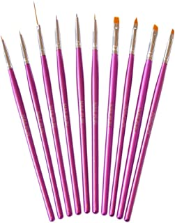 NAILFUN 10 Pinceles para Nail Art - Color Magenta