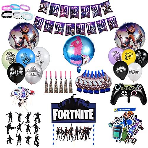 Kit De Fournitures De Fête, Fête d'anniversaire pour Fans de Jeu Décorations de Fêtes Thème de Jeu - Comprend Ballons, Utilisé Pour La Décoration De Fête De Fan De Jeu (123pcs)
