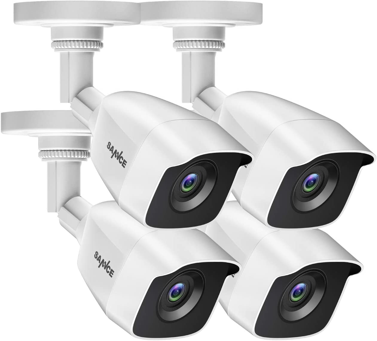 SANNCE 4 Pack FHD 1080p 2MP Wired Home Security Camera with EXIR 100ft Night Vision, IP66 Waterproof Surveillance Bullet Cameras for Outdoor Indoor Video Home CCTV Camera Home