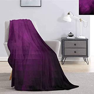 Luoiaax Eggplant Rugged or Durable Camping Blanket Abstract Purple Squares in Faded Color Scheme with Modern Art Inspired Style Pixelart Warm and Washable W54 x L72 Inch Purple