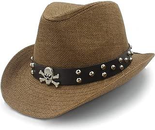 Straw Hat Sun Hat Raffia Hat Summer Women's Handsome Leather Belt Men's Rivets Punk Wind Gangster Beach Sun` TuanTuan (Color : Coffee, Size : 56-58CM)