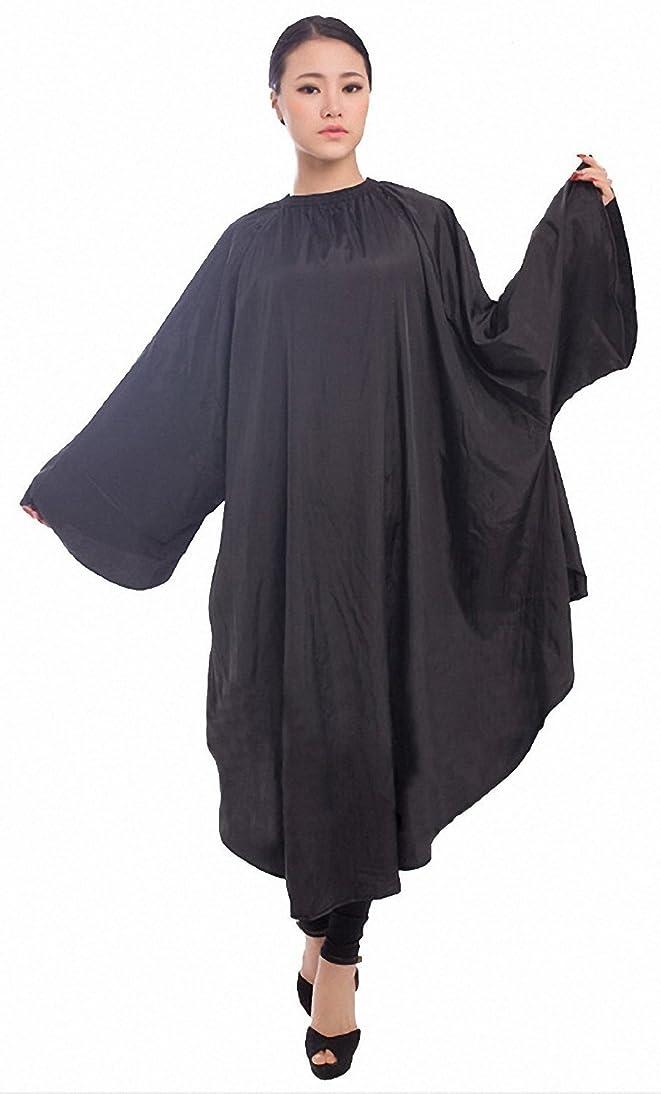 ブレス分数ティームヘアサロン用 ヘアカット ガウン カラーリング ケープ(黒)