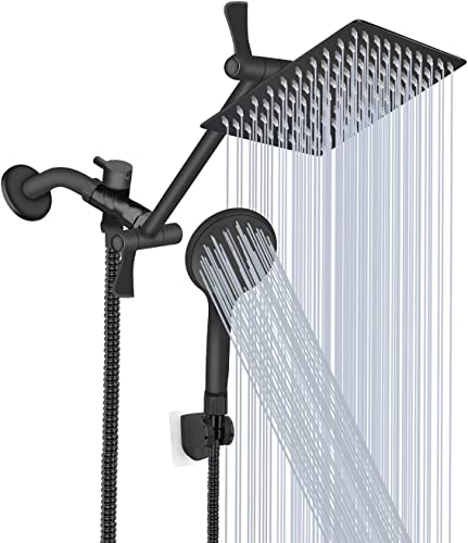 new arrival Shower Head, 8'' High Pressure Rainfall Shower Head/Handheld Shower Combo with 11'' Extension Arm, 9 Settings Adjustable Anti-leak Shower discount Head with Holder, Height/Angle Adjustable, high quality Chrome, Matte Black online sale
