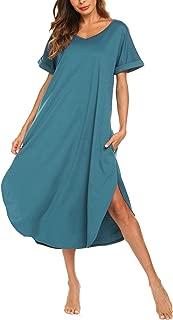 Women's Long Nightgown Cotton V Neck Sleepwear Short Sleeve Loungewear