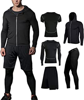 BUYJYA 5Pcs Men's Compression Pants Shirt Top Long Sleeve Jacket Set Suit