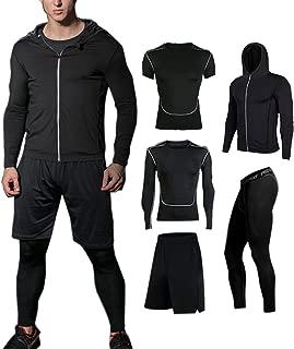 BUYJYA 5Pcs Men's Compression Pants Shirt Top Long Sleeve Jacket Set Suit