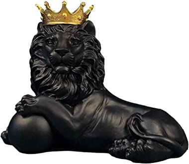 H&W 7.5''H Lion Crown King Sculpture Home Decor Ornament, Animal Statue Statues, Abstract Figurine Business Gift