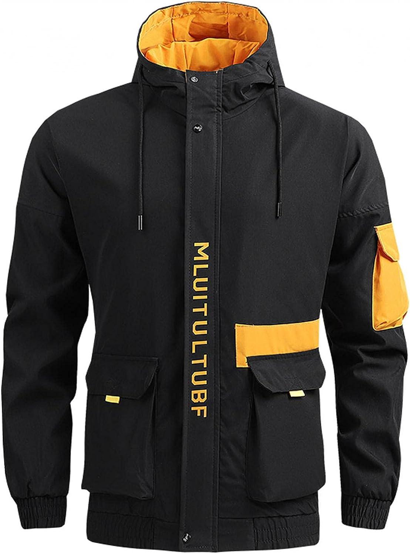 Men's Hooded Windbreaker Coat Full Zip Active Outwear Hoodies Lightweight Waterproof Raincoat Outdoor Hiking Tops