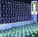 LED Lichternetz 3x2m 200 LEDs Ollny Lichterkette Netz mit Fernbedienung & Timer 8 Modi Lichterkettennetz für Weihnachten Partydekoration Wohnzimmer Kinderzimmer, Anschließbar, bis zu 3 Sätze, Kaltweiß