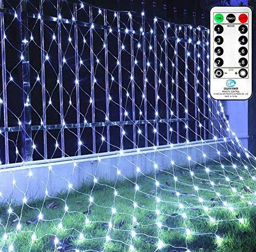 LED Lichternetz 3x2m Ollny 200 LED Lichternetz Kaltweiß Lichterkette Netz mit Fernbedienung & Timer, 4 Helligkeitsstufe 8 Modi Lichterkettennetz für Zimmer Weihnachten Partydekoration, Geeignet