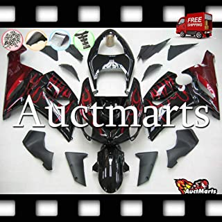 Auctmarts Injection Fairing Kit ABS Plastics Bodywork with FREE Bolt Kit for Kawasaki ZX6R ZX-6R 636 2005 2006 Gloss Black Red Burgundy Flames (P/N:3b19)