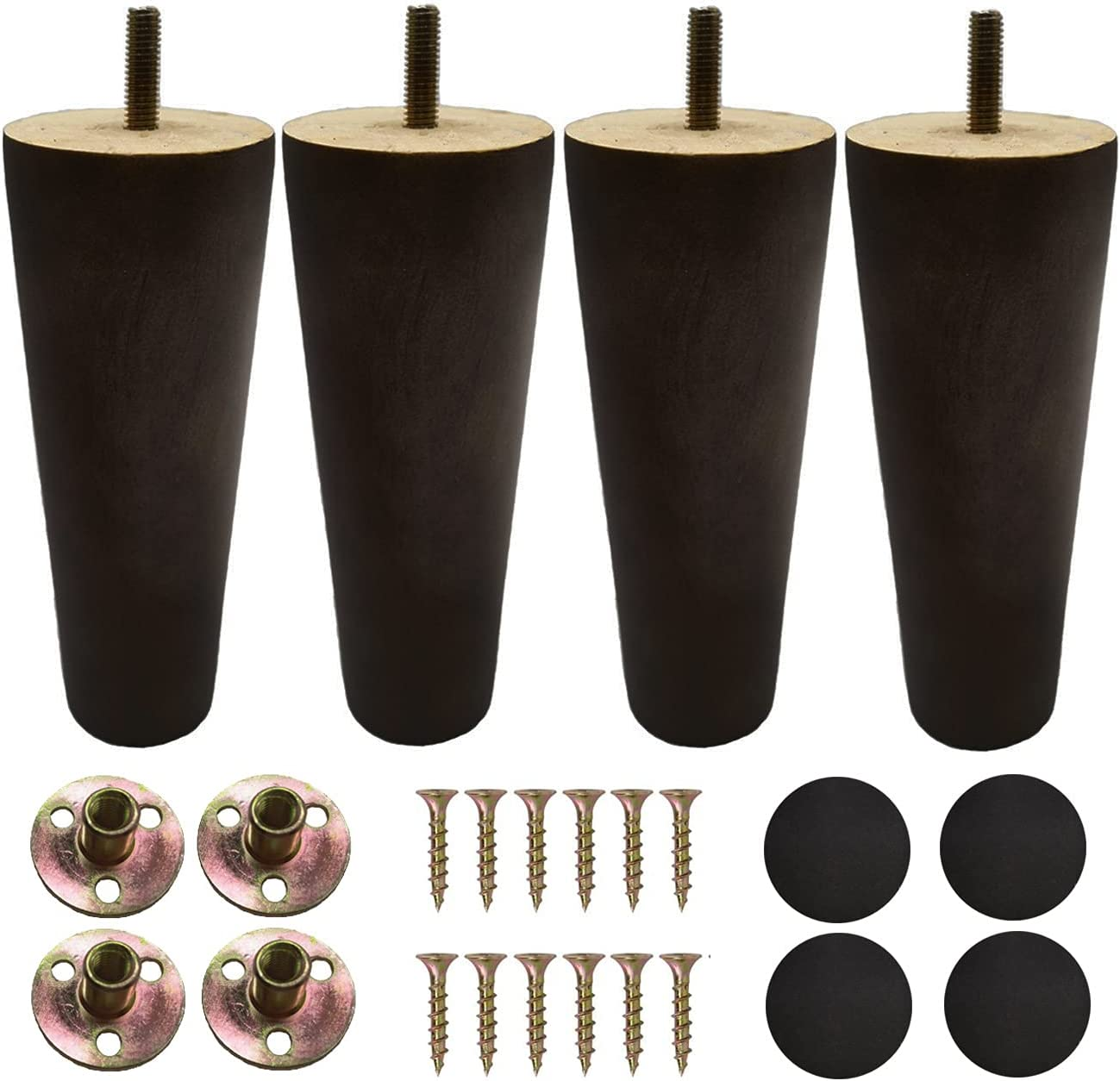 Furniture Legs Sofa Couch Leg Replacement Parts Table Feet Solid Wood Replace Legs 6 inch DIY for Desk Cabinet Bench Dresser Loveseat Chair Ottoman Bookcase Round Set of 4 (Dark brown, 6 inch)