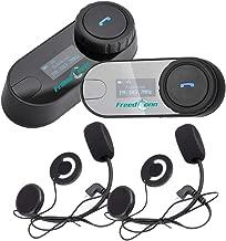 Buyee 2pcs BT Interphone Motorcycle Helmet Bluetooth Headset Wireless Intercom Headphones with Microphone for Motorbike Scooter Skiing Communication Range-800M