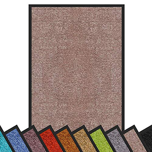 Schmutzfangmatte Rhine | schadstoffgeprüft | waschbare & extra leistungsstarke Fußmatte | Sauberlaufmatte mit Rutschfester Rückseite | Türmatte in vielen Größen & Farben (90x150 cm, Beige-Rosé)
