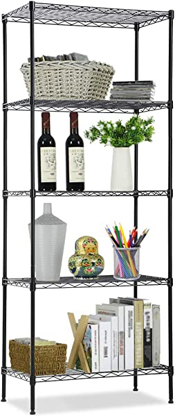 Wire Shelving Unit NSF 5 Tier Layer Shelf Utility Steel Commercial Grade Storage Shelves 24 L X 14 W X 60 H Heavy Duty Metal Shelves Organizer Rack With Leveling Feet For Kitchen Office Garage Black